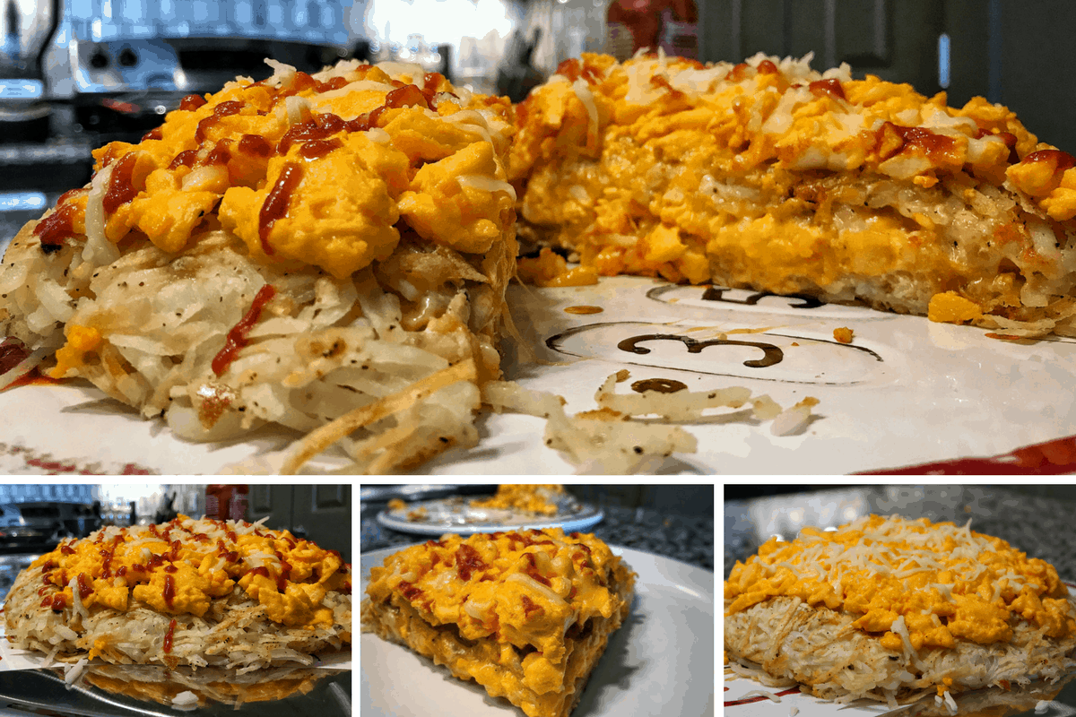 Macro Friendly Breakfast Recipes: Cheesy Hash Brown Layer Cake