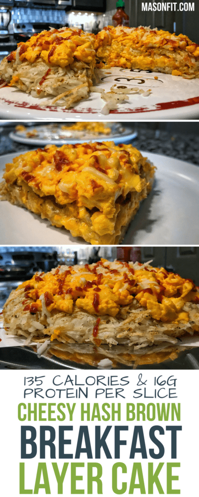 A macro friendly, low calorie cheesy hash brown breakfast layer cake with 16 grams of protein and only 135 calories per slice. This is perfect for the cheese, eggs, and hash brown lover in need of a breakfast recipe to prepare in bulk.