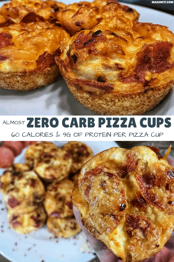 Delicious pizza flavor without the carbs. These pizza cups have 0.6 grams of carbs and 8 grams of protein per pizza cup with only 61 calories!