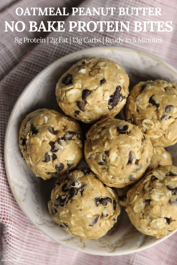 A simple recipe for no bake protein bites with 8 grams of protein, 13 grams of carbs, and 2 grams of fat each. They're perfect for having in the fridge for snacks or grabbing a couple for breakfast on-the-go!
