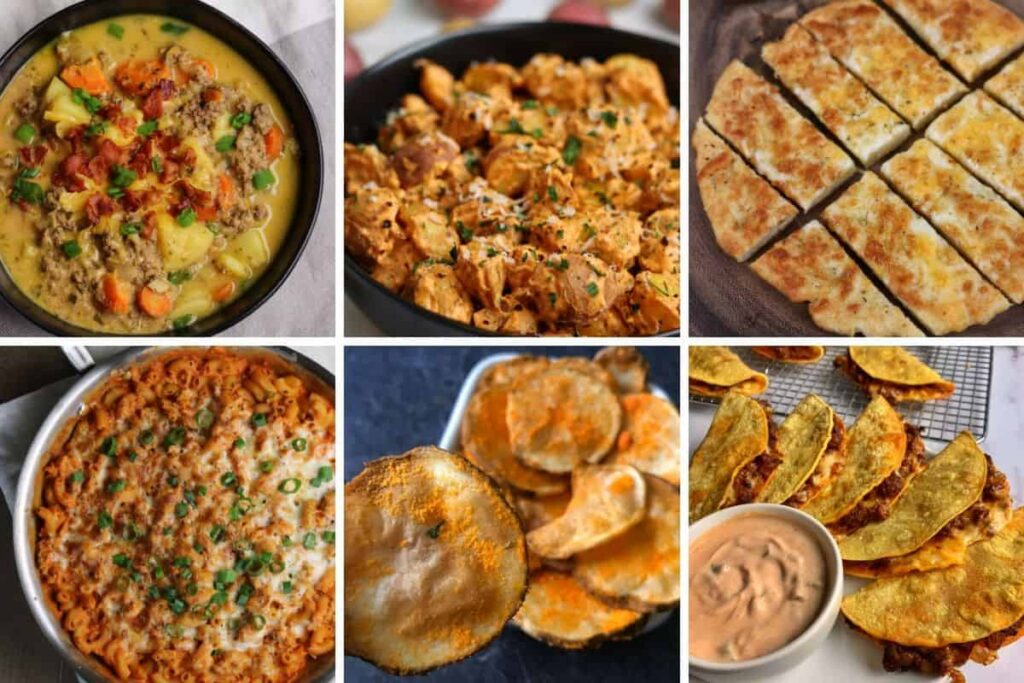 six photos of recipes that use cheddar powder