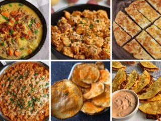 six photos of recipes that use cheddar powder