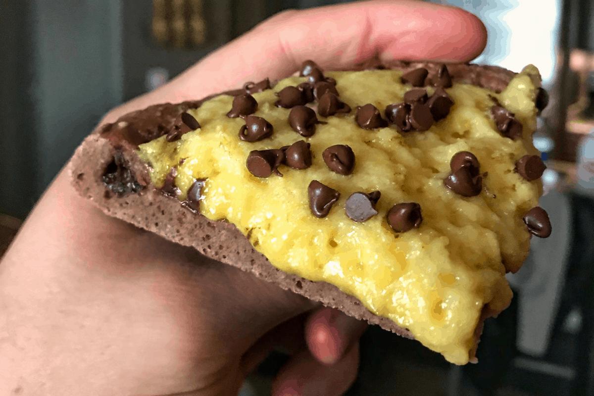 High Protein Chocolate Stuffed Crust Chocolate Chip Pizza