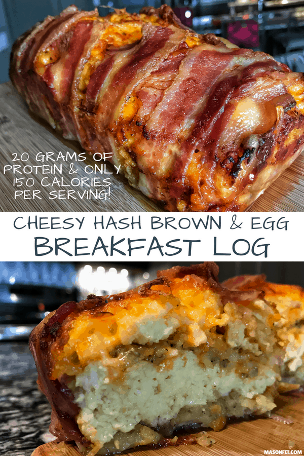 All your breakfast faves wrapped into one high protein breakfast log with 20 grams of protein and only 150 calories per serving. This recipe is perfect for prepping breakfast for the week if you're in a rush.