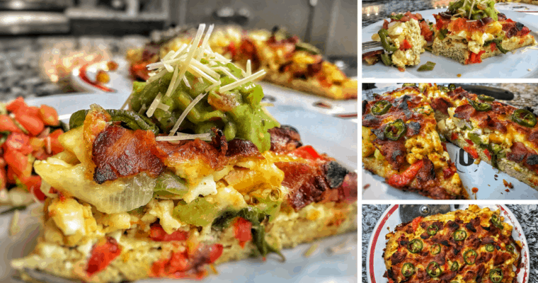 High Protein, Low Carb Veggie Breakfast Pizza Recipe