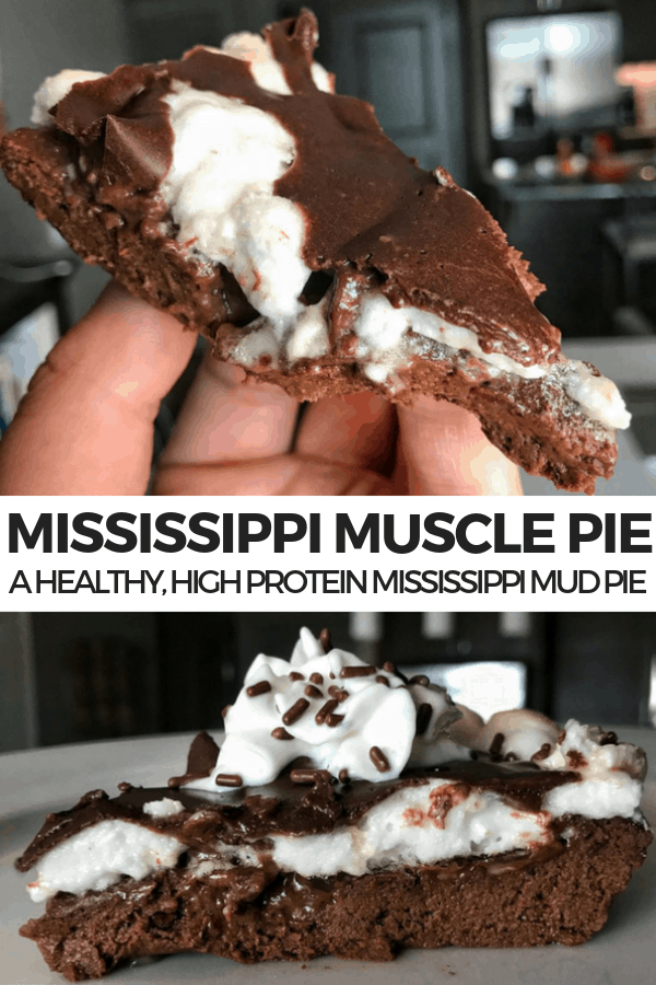 You'll love this healthier, macro friendly recipe for Mississippi Mud Pie with 14 grams of protein, one gram of fat, and only 130 calories per slice.