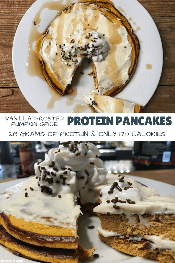 With 28 grams of protein, 11 grams of carbs, and only 170 calories each, these pumpkin spice protein pancakes are a must try for any fitness enthusiast.