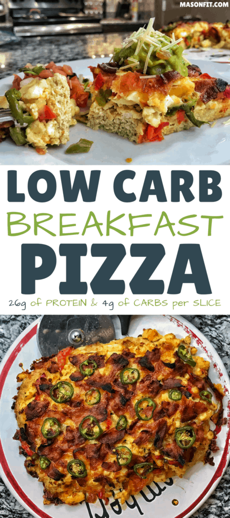 Go low carb without all the fat with this breakfast pizza recipe. With 26 grams of protein, 4 grams of carbs, and fewer than 200 calories per slice, it fits every nutrition goal!
