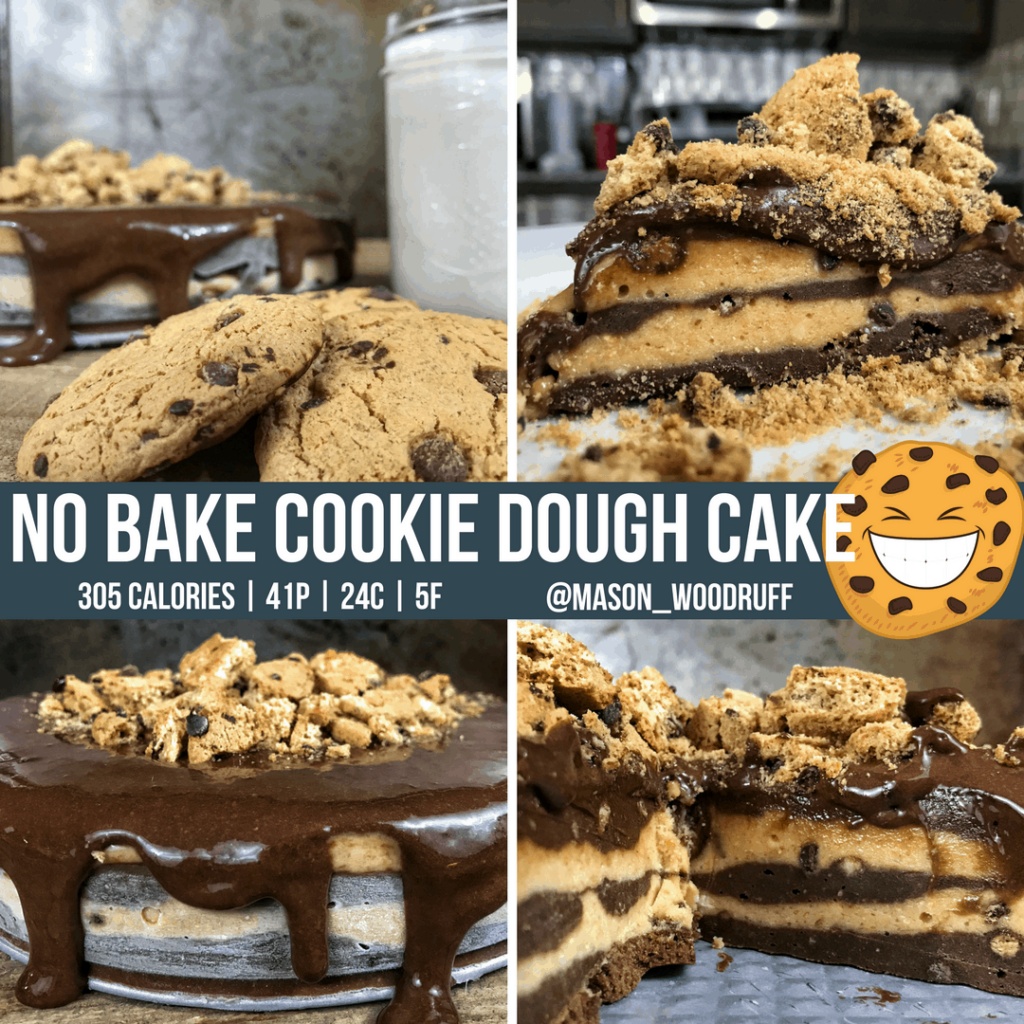 high protein no bake chocolate chip cookie dough cake