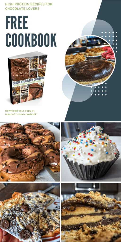 Great tasting high protein chocolate recipes for any chocolate loving fitness enthusiast. Download the cookbook for free!