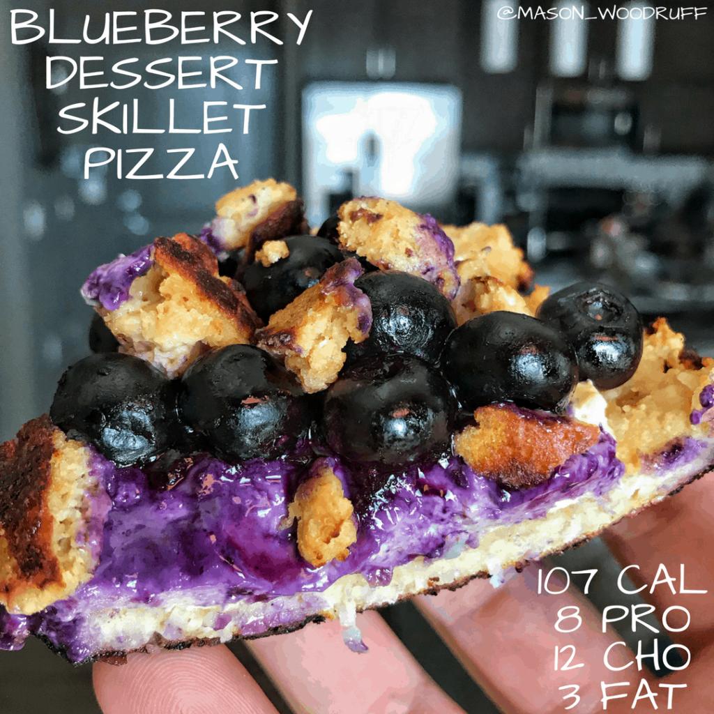 Low Calorie Blueberry Dessert Skillet Pizza Recipe
