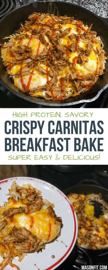A high protein crispy carnitas breakfast bake that's perfect for prepping in bulk and making a healthy breakfast a breeze.