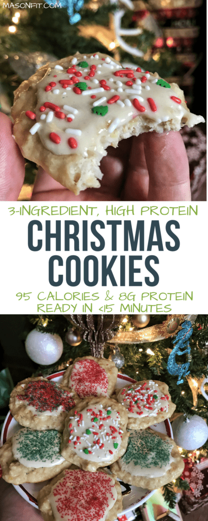 These high protein Christmas cookies pack 8 grams of protein and tons of flavor into 95 calories. Even better, they only require 3 ingredients and are super easy to make!