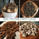 A recipe for chocolate peanut butter protein puppy chow with a vanilla or chocolate high protein stevia powdered sugar alternative coating. And if you think that's a mouthful of a title, wait til you try this puppy chow out!