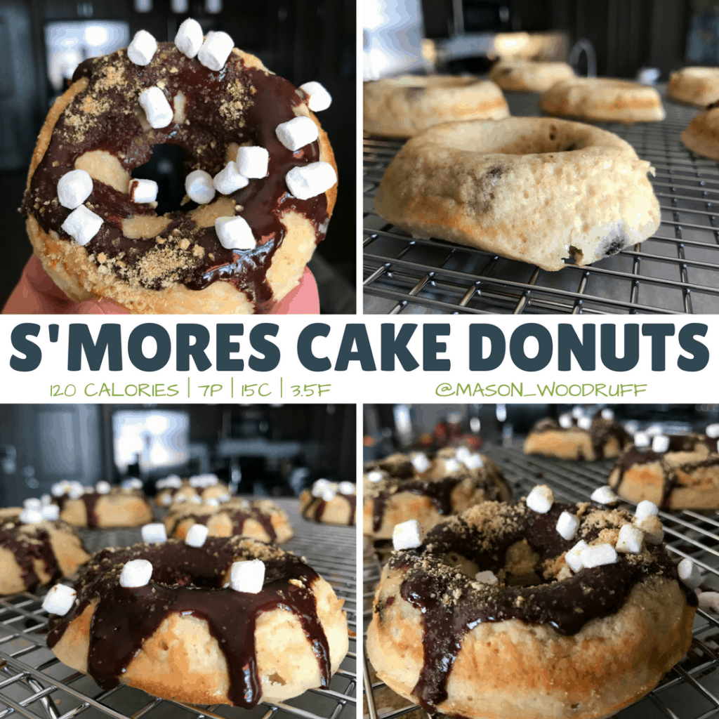 Blend the beauty of s'mores and donuts with this low calorie cake donut recipe with 7 grams of protein and only 120 calories per donut. The recipe includes modifications for both lower calorie and higher protein versions. You can tweak these to fit any nutritional goal or needs.