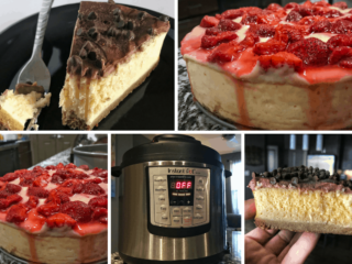 How to make an easy Instant Pot cheesecake with a lower calorie, higher protein twist. Each slice has fewer than 300 calories and more than 20 grams of protein. The recipe includes two options for white chocolate strawberry and double chocolate toppings.
