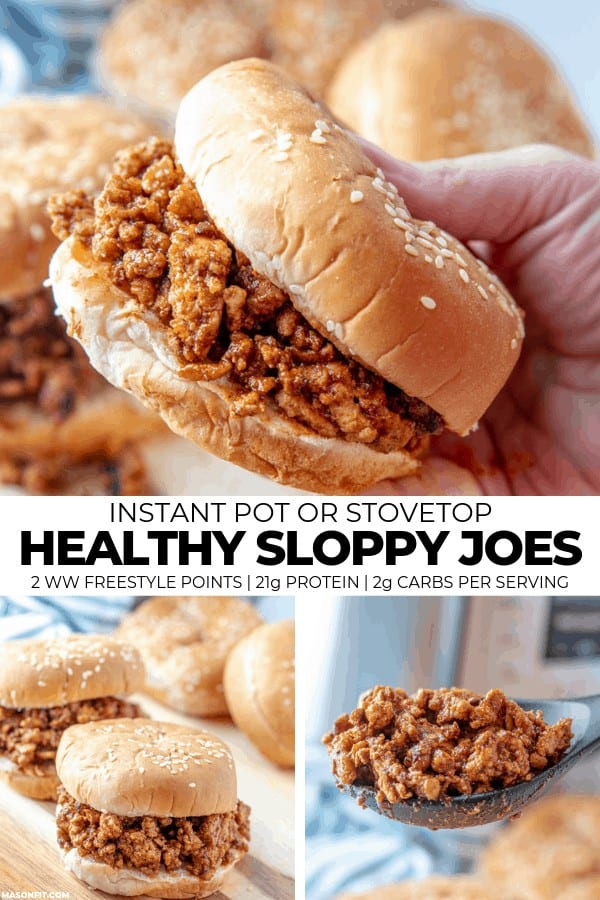 Quick and easy Instant Pot sloppy joes with a high protein, low calorie twist and recipes for high protein cauliflower buns, waffle fries, and other healthy options. You'll love the sweet and spicy flavor combinations of these healthy sloppy joes!