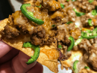 You're going to fall in love with this quick and easy high protein, low calorie sloppy joe nachos recipe. Each serving has 21 grams of protein and only 17 grams of carbs and 175 calories. You can eat an entire pan for less than 700 calories!