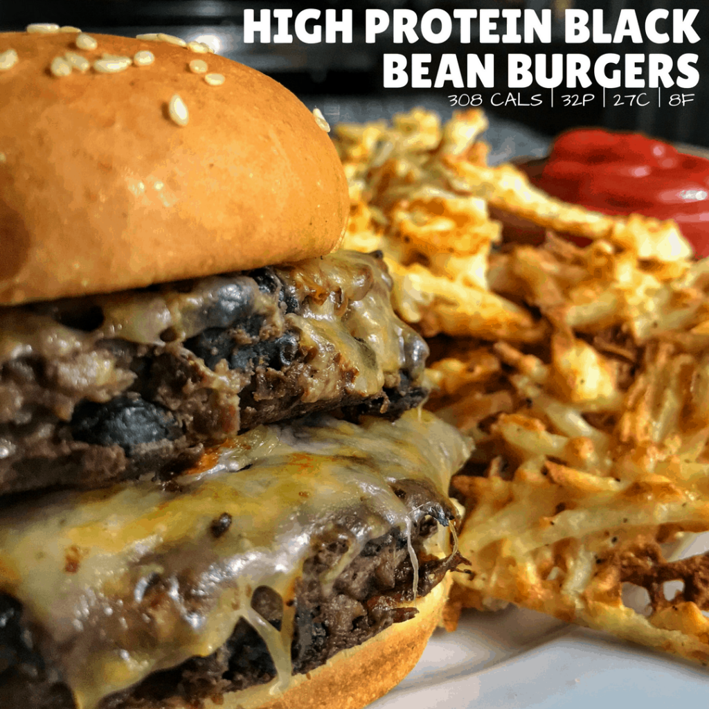 High Protein Black Bean Burgers and Waffle Fries
