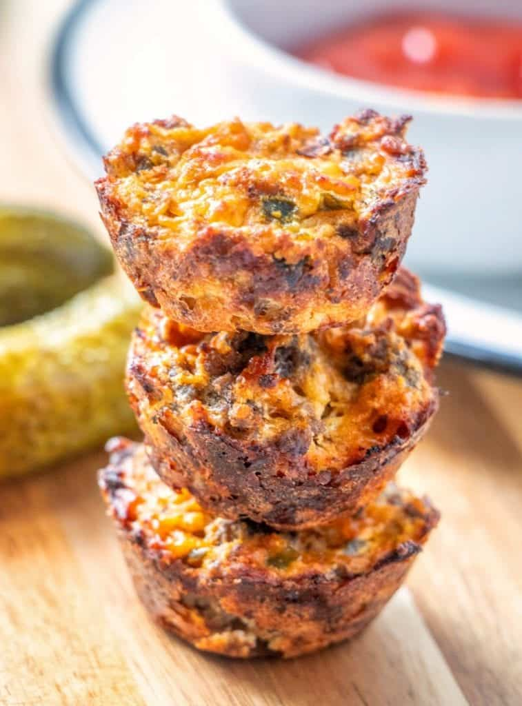 A recipe for high protein, low carb, and low calorie cheeseburger bites with all your favorite burger fixins packed in an easy to eat finger food. If you like cheeseburgers, you'll love these.