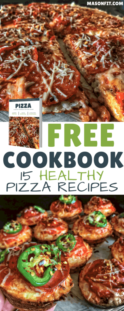 My most popular healthy pizza recipes in an easy to follow cookbook. You'll find everything from low carb pizza cups and breakfast pizza to high protein chocolate chip pizza and s'mores protein pizookies.