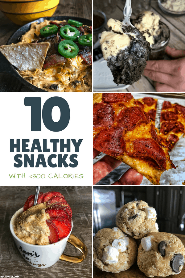 A list of 10 high volume snacks to make dieting and fat loss easier. Full recipes included for cheese dip and easy low calorie chips, pizza, one-minute brownies, no bake s'mores protein bites, jalapeño popper dip, and more.