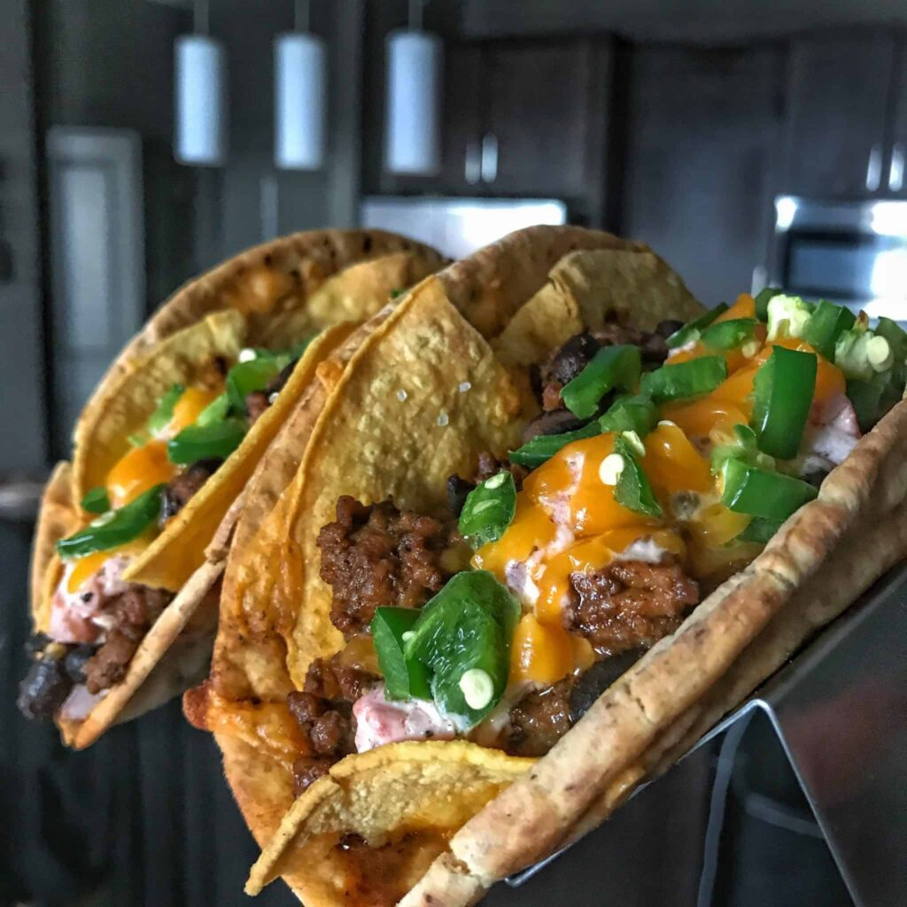 Taco Bell's classic remixed in this Healthy Cheesy Gordita Crunch recipe. You'll save 175 calories and add 16 grams of protein per serving without losing the greatness of the original.