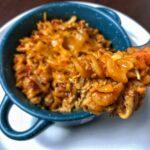healthy BBQ chicken pasta bake