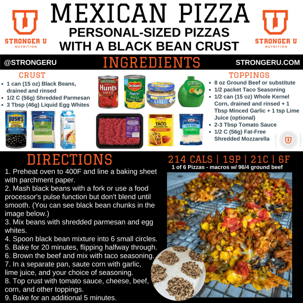 mexican pizza with black bean pizza crust