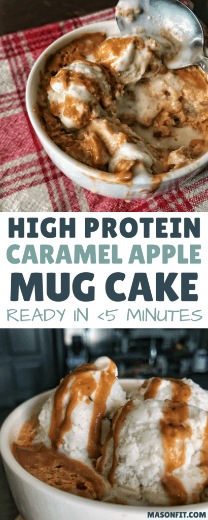 This caramel apple protein mug cake has a prep time under 5 minutes, 18 grams of protein, and fewer than 200 calories. The ingredient list is short and sweet, pun intended. Top it with a bit of fat-free whipped cream or low calorie ice cream, and you'll be in love.