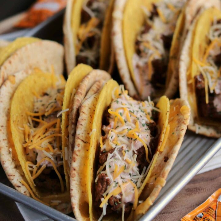 6 homemade cheesy gordita crunch tacos