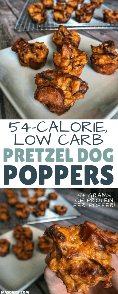 A 5-ingredient recipe for 54-calorie pretzel dog bites with 5 grams of protein and only 3 grams of carbs per bite. You won't believe the amount of crunch in this low carb snack.
