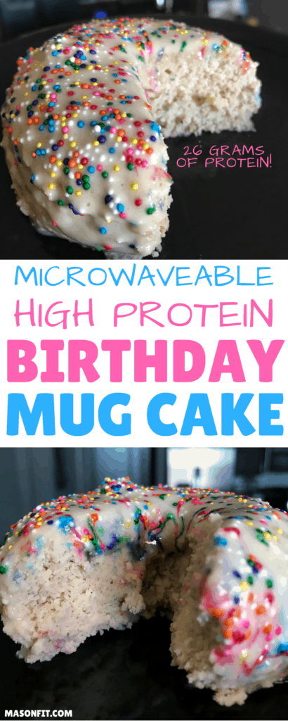 A mug cake recipe for high protein birthday cake that's ready in less than 5 minutes and packs 26 grams of protein into a 265-calorie cake. It's moist and delicious, just like real birthday cake.