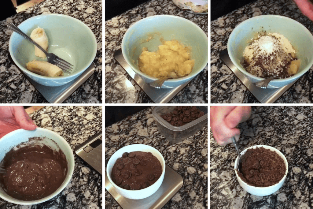the steps for making chocolate protein banana bread