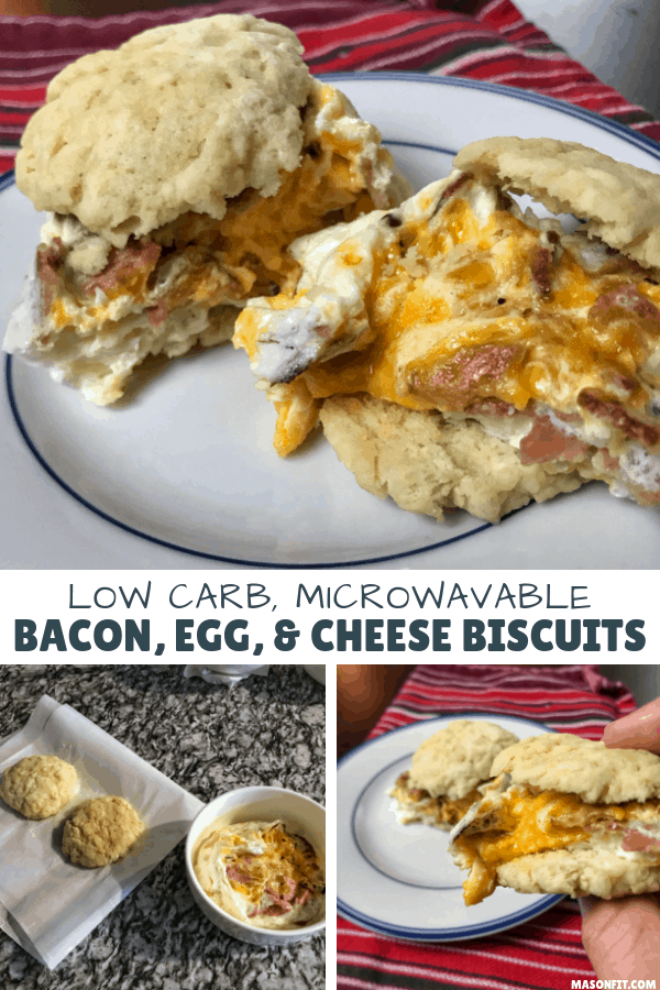Have a low calorie, low carb bacon, egg, and cheese biscuit in minutes with this crazy simple recipe that can be prepped entirely in a microwave.