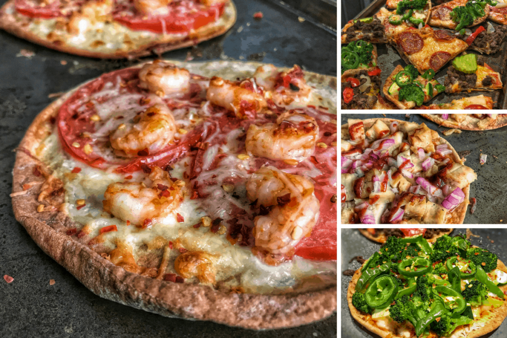 Six low calorie pizza recipes ranging from spicy shrimp and cheeseburger to a meatless green veggie flavor bomb. The pizzas go from 150 calories to 370 calories and are all packed with protein. Not to mention, they're all made with simple ingredients and require minimal prep time.