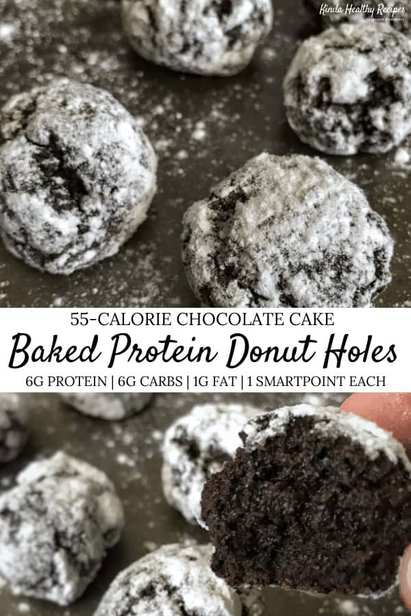 Chocolate cake and donut holes come together in this high protein, low calorie recipe. Each donut hole has roughly 6 grams of protein and carbs, 1 gram of fat, 55 calories, and 1 WW SmartPoint.