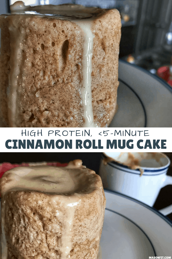 This quick and easy healthy cinnamon roll mug cake delivers all the great cinnamon roll flavors and 35 grams of protein in less than 5 minutes. If you're looking for a healthy fix for cinnamon rolls, you'll love this recipe.