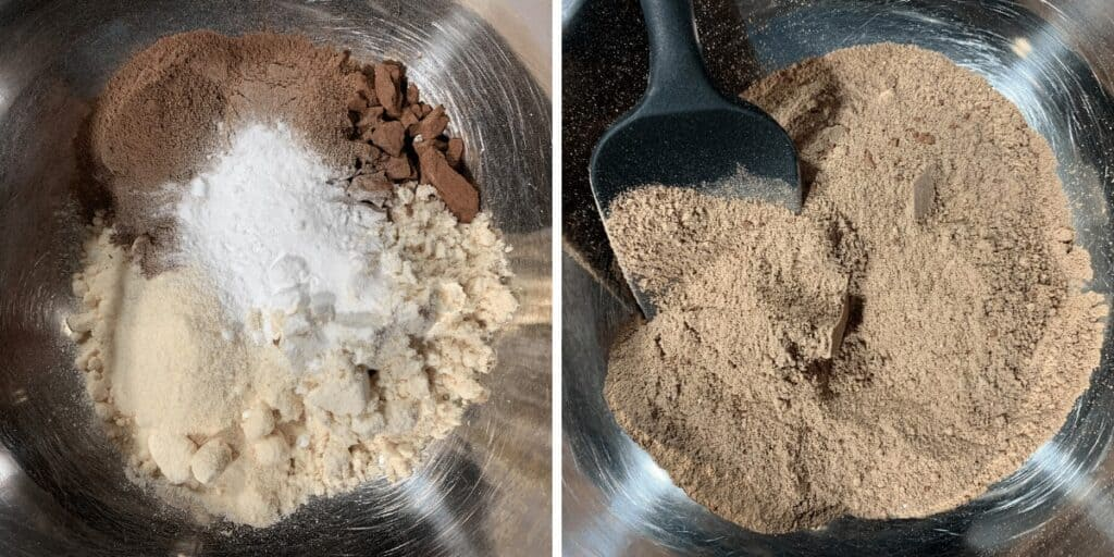 dry ingredients for baked protein donut holes in a mixing bowl