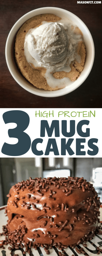 Three quick and easy protein mug cake recipes. Flavors include apple pie, devil's food, and chocolate peanut butter and banana.