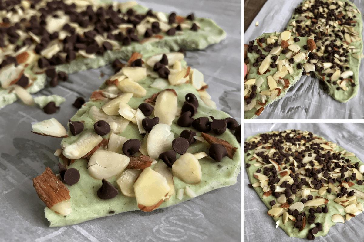 Almond Mint Chocolate Chip Protein Yogurt Bark