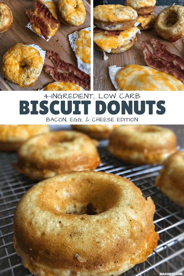 A 4-ingredient recipe for low carb biscuit donuts with 10 grams of protein each. Includes modifications to cut calories as low as 92 per donut.