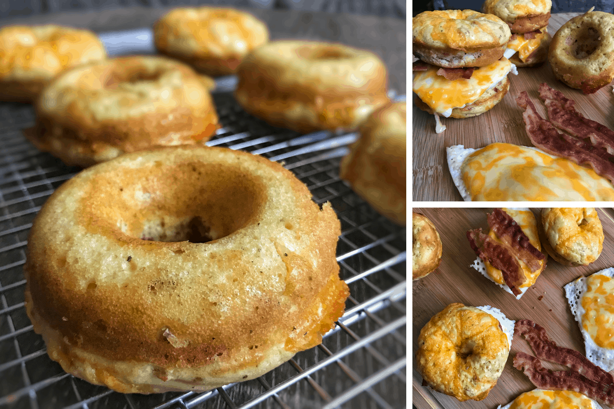 LOW CARB BACON, EGG, AND CHEESE BISCUIT DONUTS