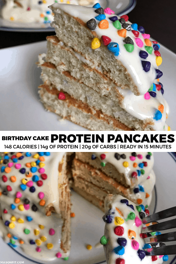 Quick and easy birthday cake protein pancakes with 14 grams of protein and only 148 calories each. Recipe includes multiple options for protein frostings and macros for pancakes only.