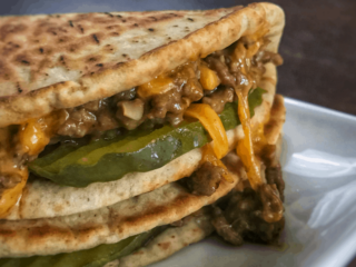 A super easy to make cheeseburger quesadilla recipe with low calorie, high protein ingredients. These make the perfect low calorie meal or high protein snack for cheeseburger lovers.