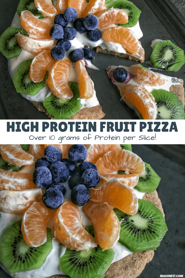 Recipes for a 4-ingredient high protein fruit pizza crust, protein packed Greek yogurt topping, and a guide for choosing the best fruit for fruit pizzas.