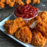 Low carb chicken nuggets crusted in real Cheetos and a spicy, cheesy spice blend. Each nugget has 6 grams of protein and only 3 grams of carbs.