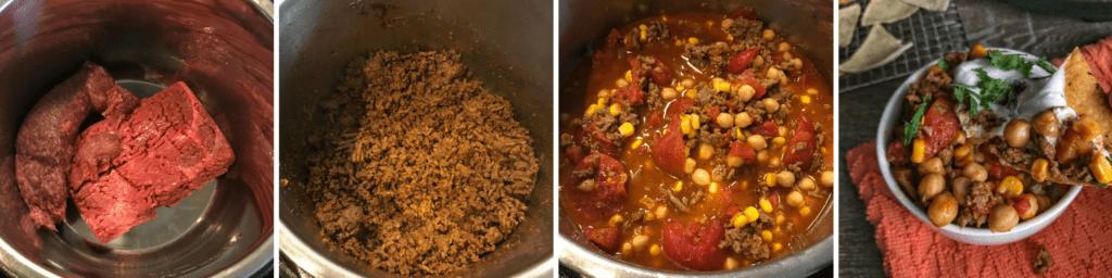 chorizo taco soup process
