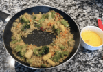 create a well for the egg in fried rice