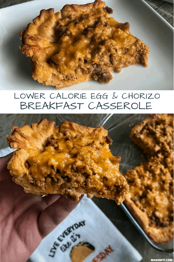 A lower calorie chorizo breakfast casserole thanks to a homemade chorizo with a fraction of the fat of traditional chorizo. With crescent rolls as its bottom layer, this breakfast casserole is perfectly savory and a delicious way to start your day.